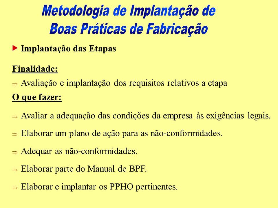Implantação das Etapas Como fazer: Þ Esclarecer o conteúdo geral da etapa (Manual de Apoio às BPF e textos o que devo fazer).