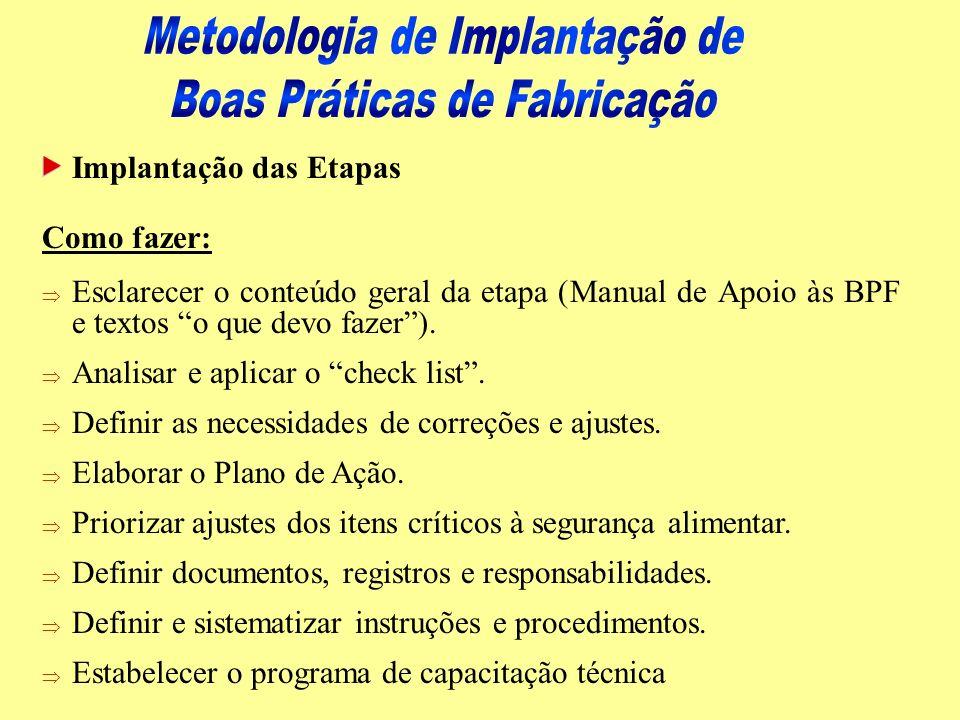 Implantação das Etapas Como fazer: Þ Esclarecer o conteúdo geral da etapa (Manual de Apoio às BPF e textos o que devo fazer). Þ Analisar e aplicar o c