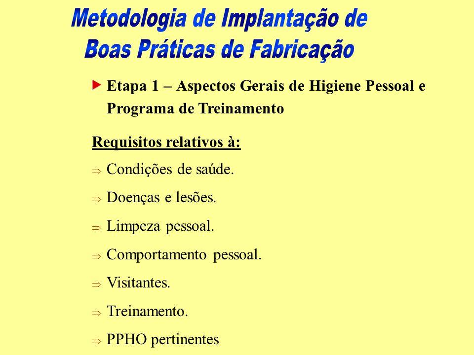 Etapa 1 – Aspectos Gerais de Higiene Pessoal e Programa de Treinamento Requisitos relativos à: Þ Condições de saúde. Þ Doenças e lesões. Þ Limpeza pes
