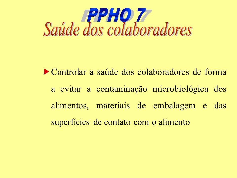 Controlar a saúde dos colaboradores de forma a evitar a contaminação microbiológica dos alimentos, materiais de embalagem e das superfícies de contato
