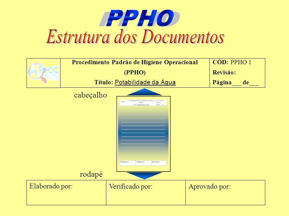 Procedimento Padrão de Higiene Operacional (PPHO) Título: Potabilidade da Água CÓD: PPHO 1 Revisão: Página___ de___ Elaborado por: Verificado por:Apro