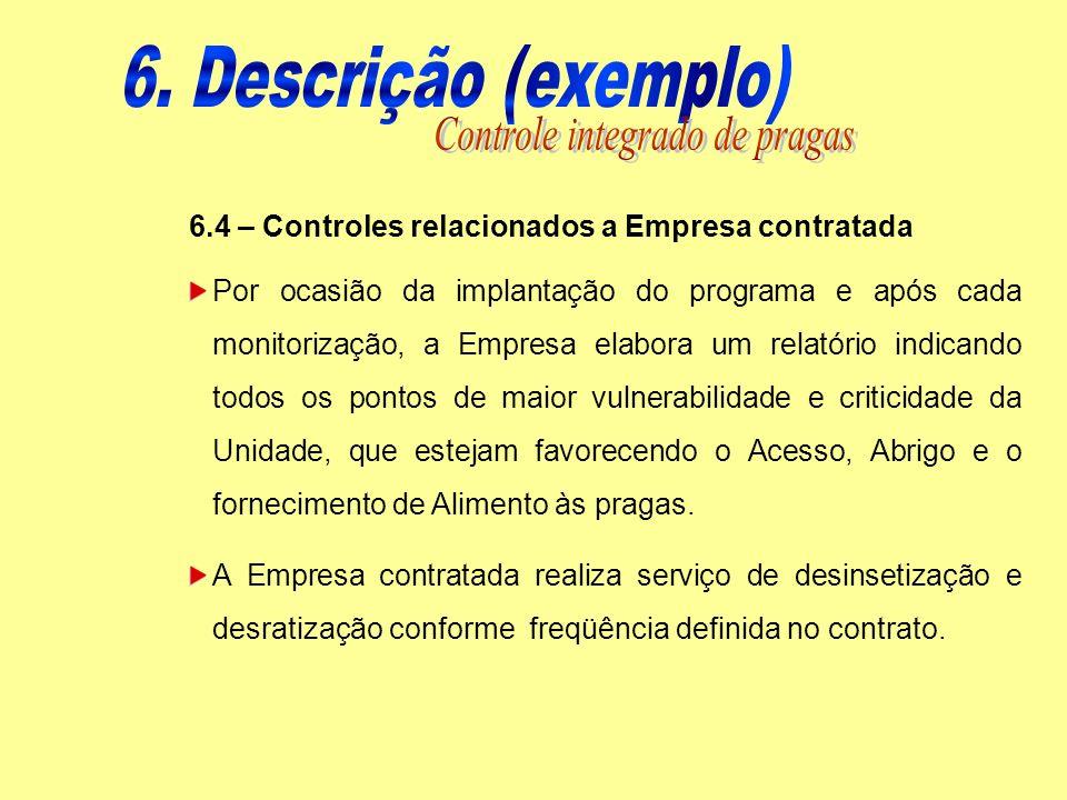 6.4 – Controles relacionados a Empresa contratada Por ocasião da implantação do programa e após cada monitorização, a Empresa elabora um relatório ind