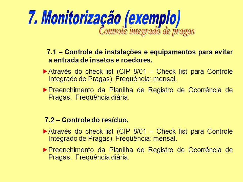 7.1 – Controle de instalações e equipamentos para evitar a entrada de insetos e roedores. Através do check-list (CIP 8/01 – Check list para Controle I