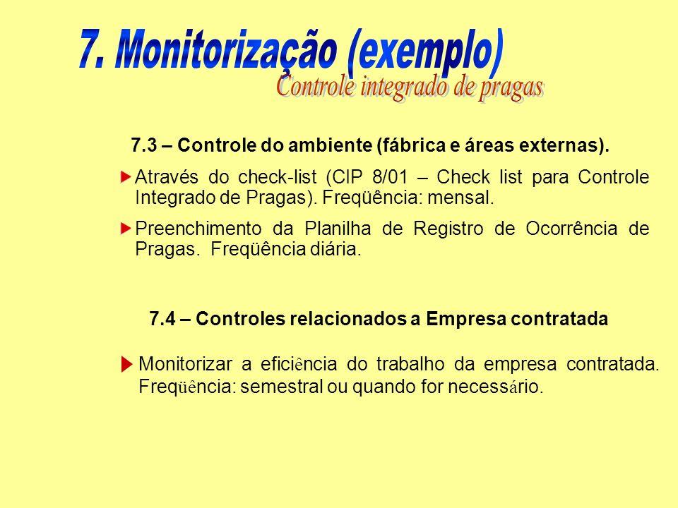 7.3 – Controle do ambiente (fábrica e áreas externas). Através do check-list (CIP 8/01 – Check list para Controle Integrado de Pragas). Freqüência: me