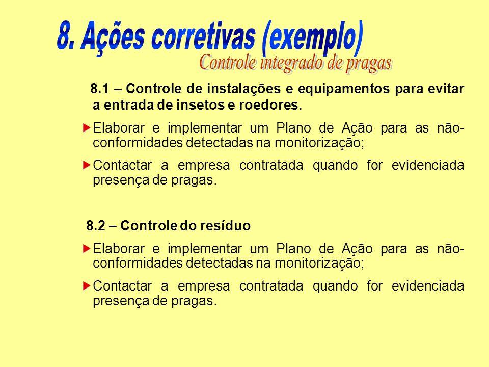 8.1 – Controle de instalações e equipamentos para evitar a entrada de insetos e roedores. Elaborar e implementar um Plano de Ação para as não- conform