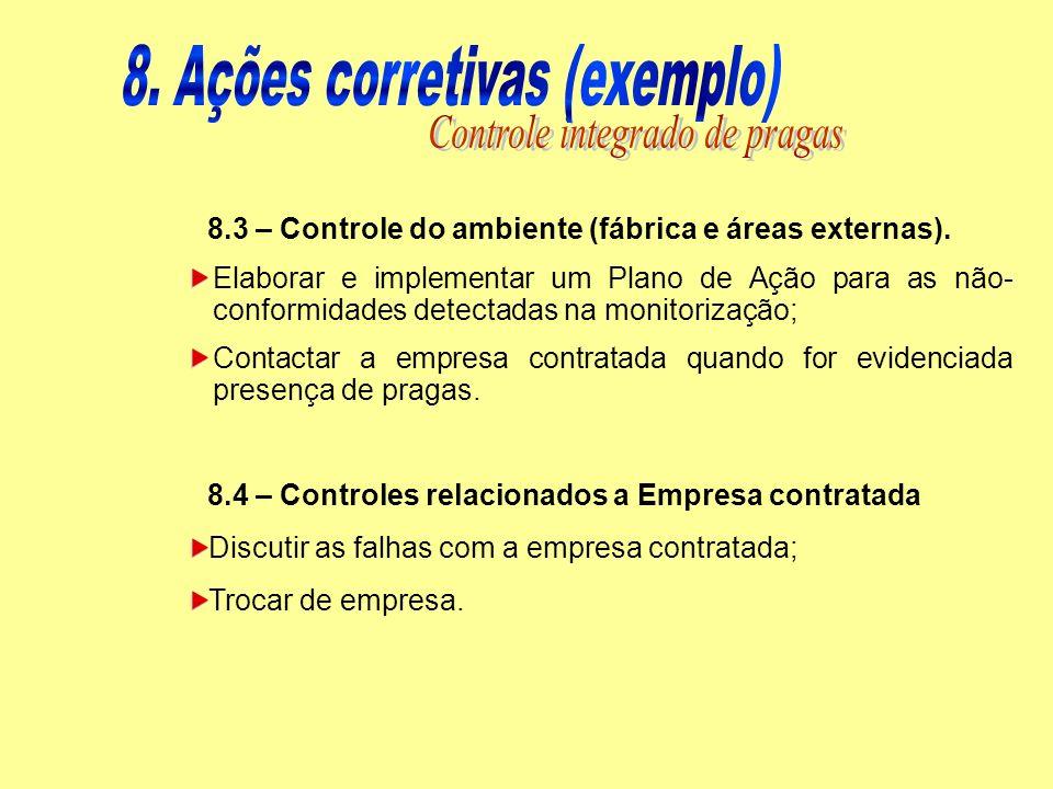 8.4 – Controles relacionados a Empresa contratada Discutir as falhas com a empresa contratada; Trocar de empresa. 8.3 – Controle do ambiente (fábrica