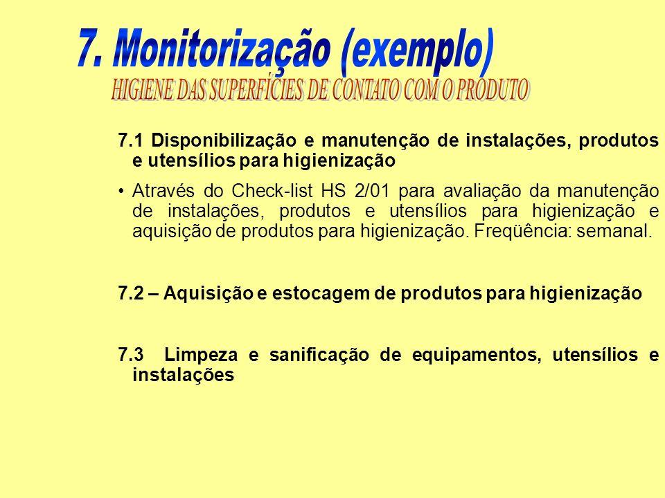 7.1 Disponibilização e manutenção de instalações, produtos e utensílios para higienização Através do Check-list HS 2/01 para avaliação da manutenção d
