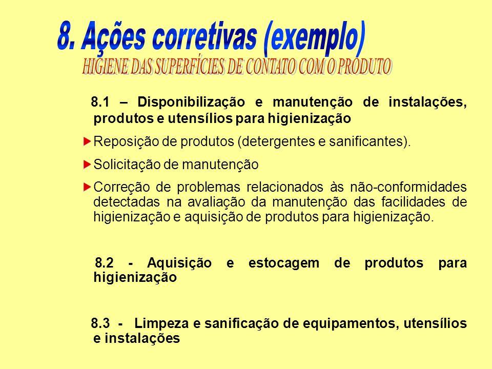 8.1 – Disponibilização e manutenção de instalações, produtos e utensílios para higienização Reposição de produtos (detergentes e sanificantes). Solici