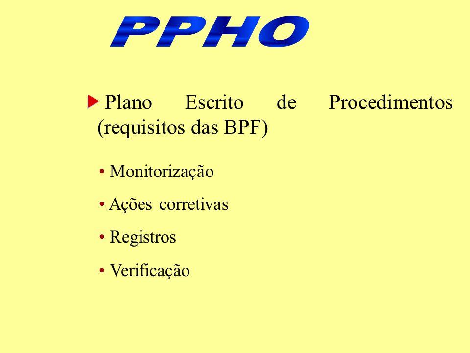 De acordo com FDA, 1995 (produtos de pesca) PPHO 1 – PPHO 2 – PPHO 3 – PPHO 4 – PPHO 5 – PPHO 6 – PPHO 7 – PPHO 8 – Potabilidade da água Higiene das superfícies de contato com o produto Prevenção da contaminação cruzada Higiene pessoal Proteção contra contaminação do produto Agentes tóxicos Saúde dos colaboradores Controle integrado de pragas adotados pelo Projeto APPCC