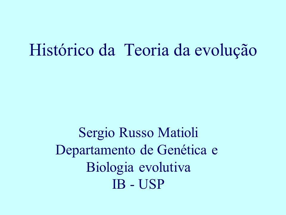 Sergio Russo Matioli Departamento de Genética e Biologia evolutiva IB - USP Histórico da Teoria da evolução