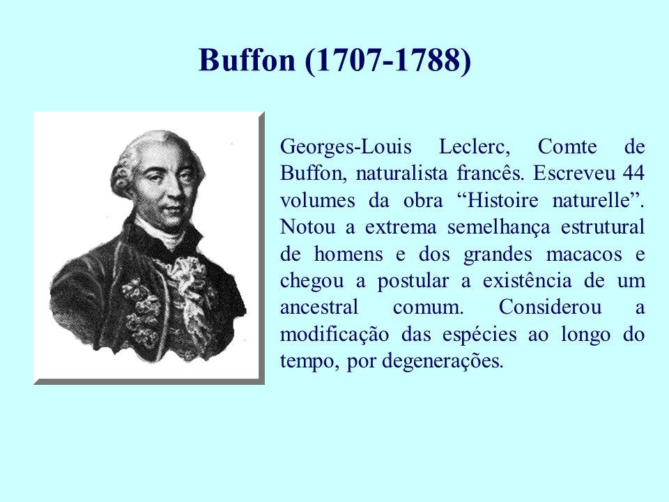 Georges-Louis Leclerc, Comte de Buffon, naturalista francês. Escreveu 44 volumes da obra Histoire naturelle. Notou a extrema semelhança estrutural de