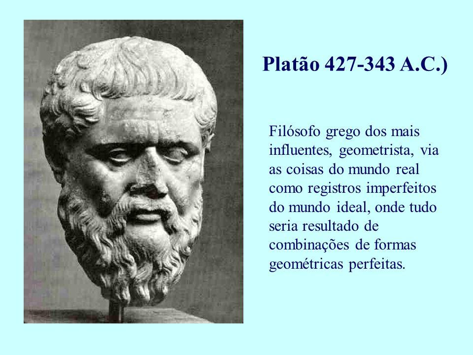 Filósofo grego dos mais influentes, geometrista, via as coisas do mundo real como registros imperfeitos do mundo ideal, onde tudo seria resultado de c