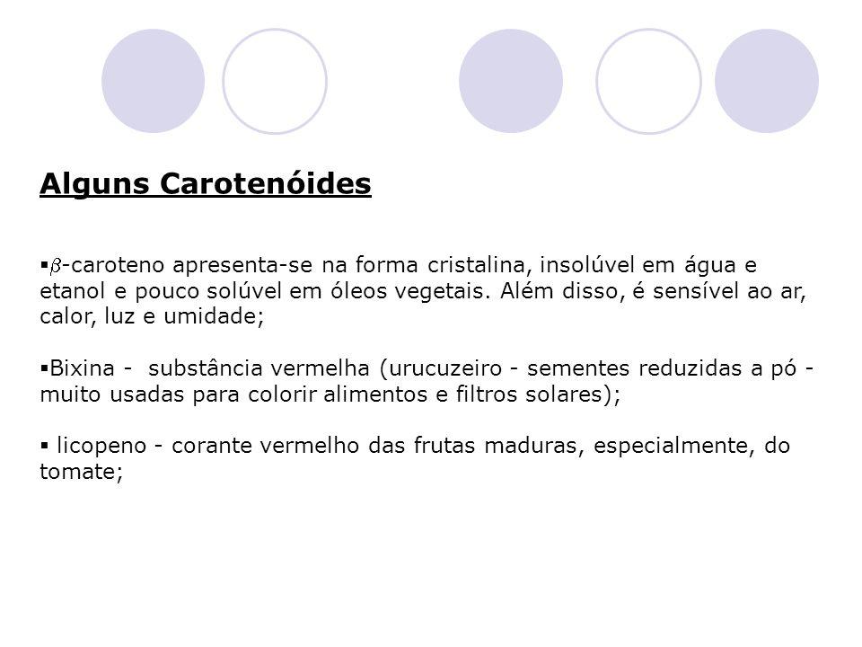 Alguns Carotenóides -caroteno apresenta-se na forma cristalina, insolúvel em água e etanol e pouco solúvel em óleos vegetais. Além disso, é sensível a