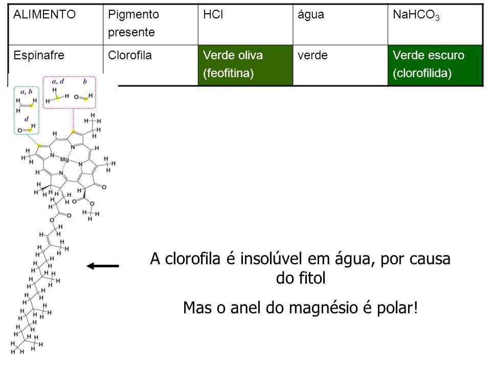 ALIMENTOPigmento presente HCláguaNaHCO 3 EspinafreClorofilaVerde oliva (feofitina) verdeVerde escuro (clorofilida)) A clorofila é insolúvel em água, p