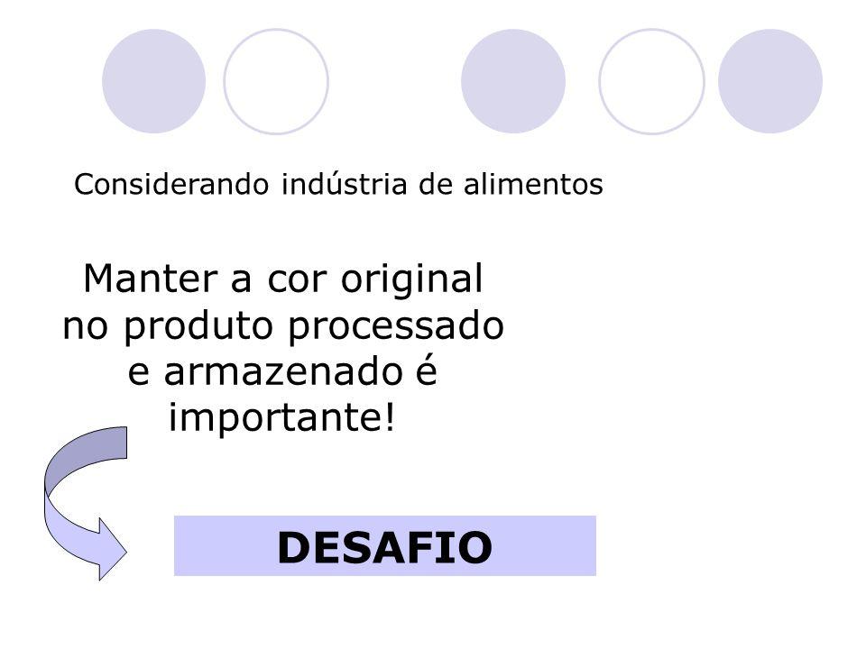 Considerando indústria de alimentos Manter a cor original no produto processado e armazenado é importante! DESAFIO