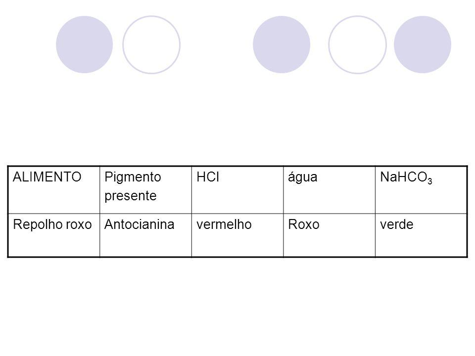 ALIMENTOPigmento presente HCláguaNaHCO 3 Repolho roxoAntocianinavermelhoRoxoverde