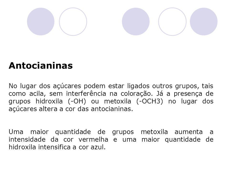 Antocianinas No lugar dos açúcares podem estar ligados outros grupos, tais como acila, sem interferência na coloração. Já a presença de grupos hidroxi