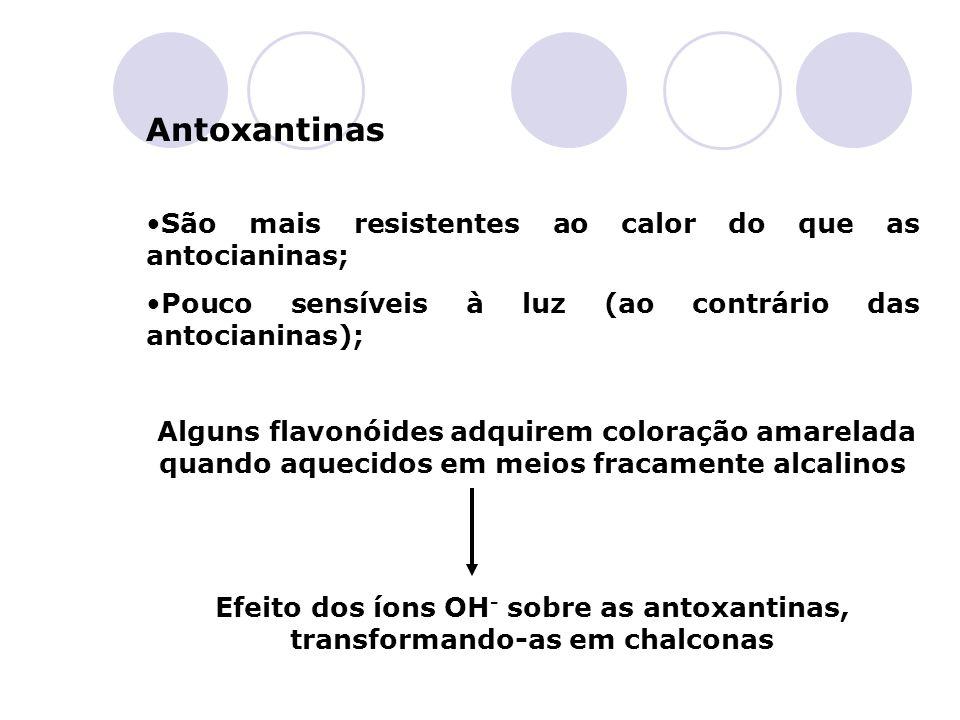 Antoxantinas São mais resistentes ao calor do que as antocianinas; Pouco sensíveis à luz (ao contrário das antocianinas); Alguns flavonóides adquirem