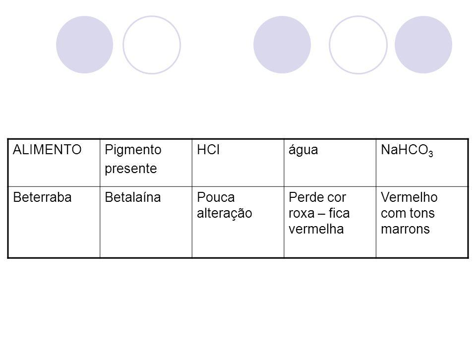 ALIMENTOPigmento presente HCláguaNaHCO 3 BeterrabaBetalaínaPouca alteração Perde cor roxa – fica vermelha Vermelho com tons marrons