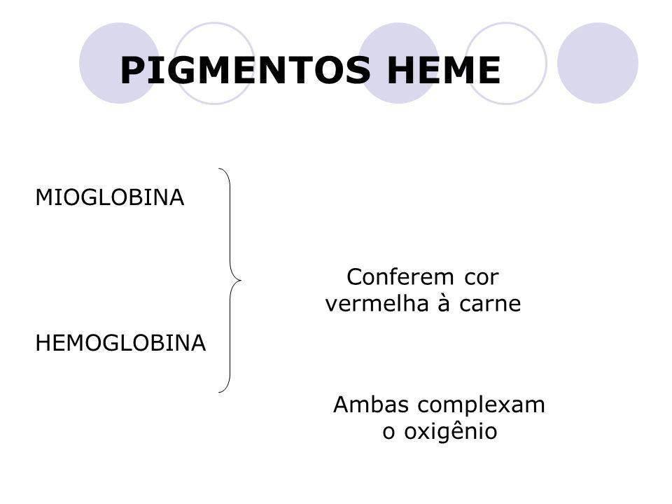 MIOGLOBINA PIGMENTOS HEME HEMOGLOBINA Conferem cor vermelha à carne Ambas complexam o oxigênio