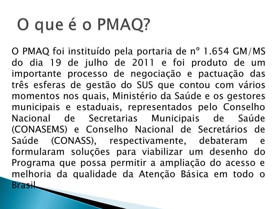 O PMAQ foi instituído pela portaria de nº 1.654 GM/MS do dia 19 de julho de 2011 e foi produto de um importante processo de negociação e pactuação das