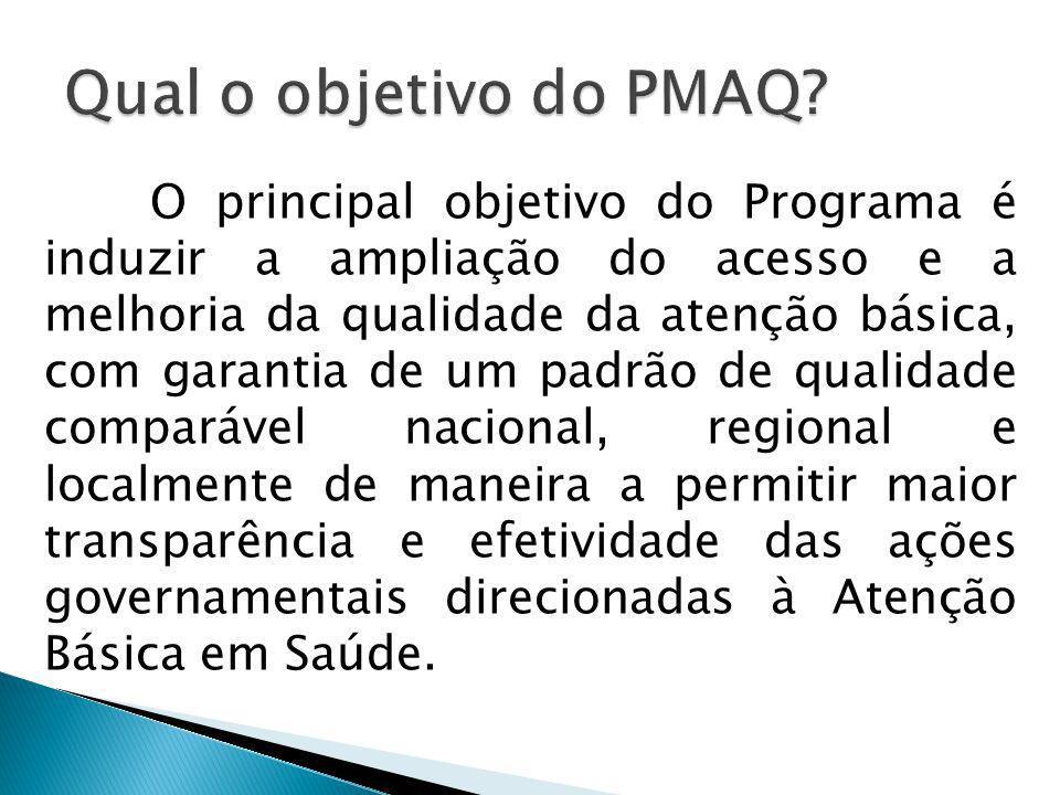 O principal objetivo do Programa é induzir a ampliação do acesso e a melhoria da qualidade da atenção básica, com garantia de um padrão de qualidade c
