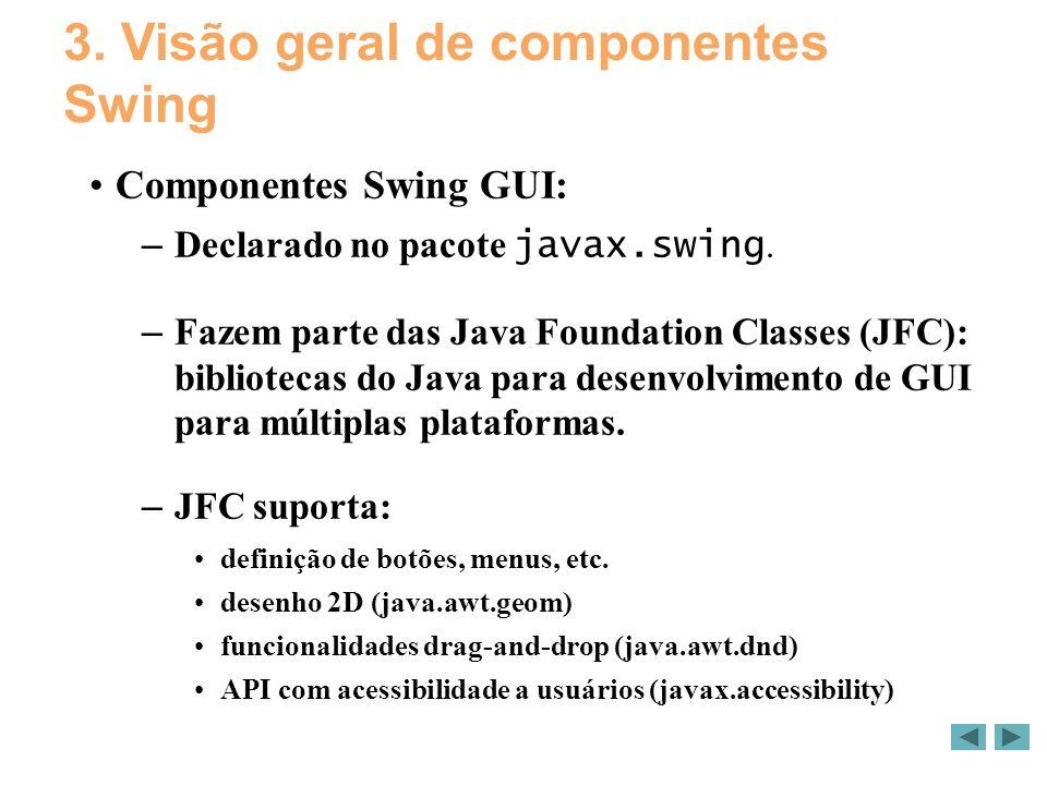 3. Visão geral de componentes Swing Componentes Swing GUI: – Declarado no pacote javax.swing.