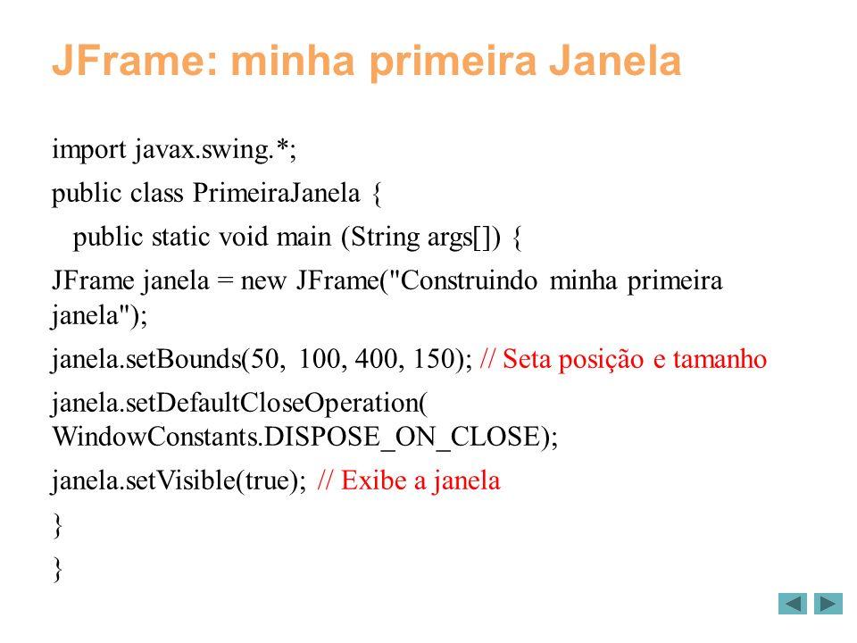 JFrame: minha primeira Janela import javax.swing.*; public class PrimeiraJanela { public static void main (String args[]) { JFrame janela = new JFrame( Construindo minha primeira janela ); janela.setBounds(50, 100, 400, 150); // Seta posição e tamanho janela.setDefaultCloseOperation( WindowConstants.DISPOSE_ON_CLOSE); janela.setVisible(true); // Exibe a janela }
