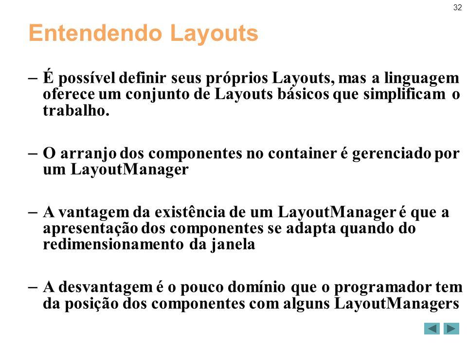 32 Entendendo Layouts – É possível definir seus próprios Layouts, mas a linguagem oferece um conjunto de Layouts básicos que simplificam o trabalho.