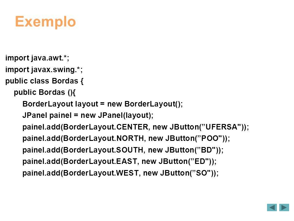 Exemplo import java.awt.*; import javax.swing.*; public class Bordas { public Bordas (){ BorderLayout layout = new BorderLayout(); JPanel painel = new JPanel(layout); painel.add(BorderLayout.CENTER, new JButton(UFERSA )); painel.add(BorderLayout.NORTH, new JButton(POO )); painel.add(BorderLayout.SOUTH, new JButton(BD )); painel.add(BorderLayout.EAST, new JButton(ED )); painel.add(BorderLayout.WEST, new JButton(SO ));