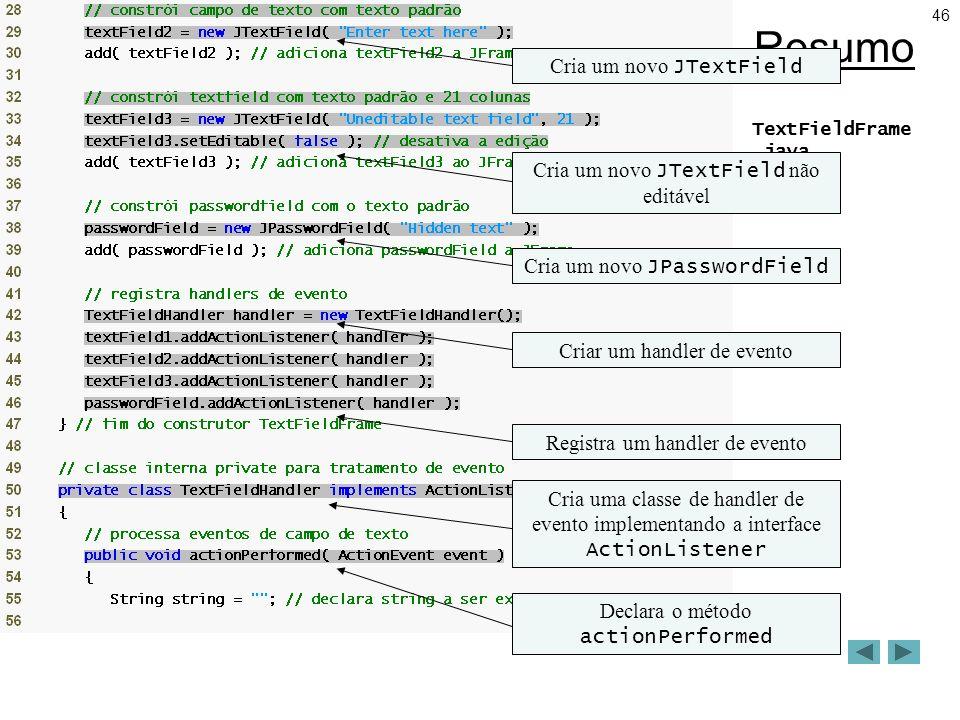 46 Resumo TextFieldFrame.java (2 de 3) Cria um novo JTextField Cria um novo JTextField não editável Cria um novo JPasswordField Criar um handler de evento Registra um handler de evento Cria uma classe de handler de evento implementando a interface ActionListener Declara o método actionPerformed