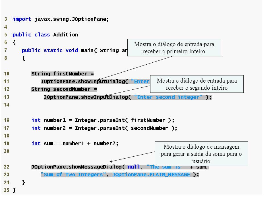 Mostra o diálogo de entrada para receber o primeiro inteiro Mostra o diálogo de entrada para receber o segundo inteiro Mostra o diálogo de mensagem para gerar a saída da soma para o usuário