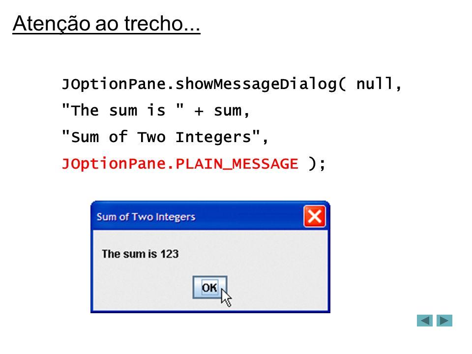 Mais um exemplo import java.awt.*; import java.awt.event.*; import javax.swing.*; public class PanelDemo extends JFrame { private JPanel buttonPanel; private JButton buttons[ ]; public PanelDemo( ) { super( Panel Demo ); Container c = getContentPane(); buttonPanel = new JPanel(); buttons = new JButton[ 5 ];