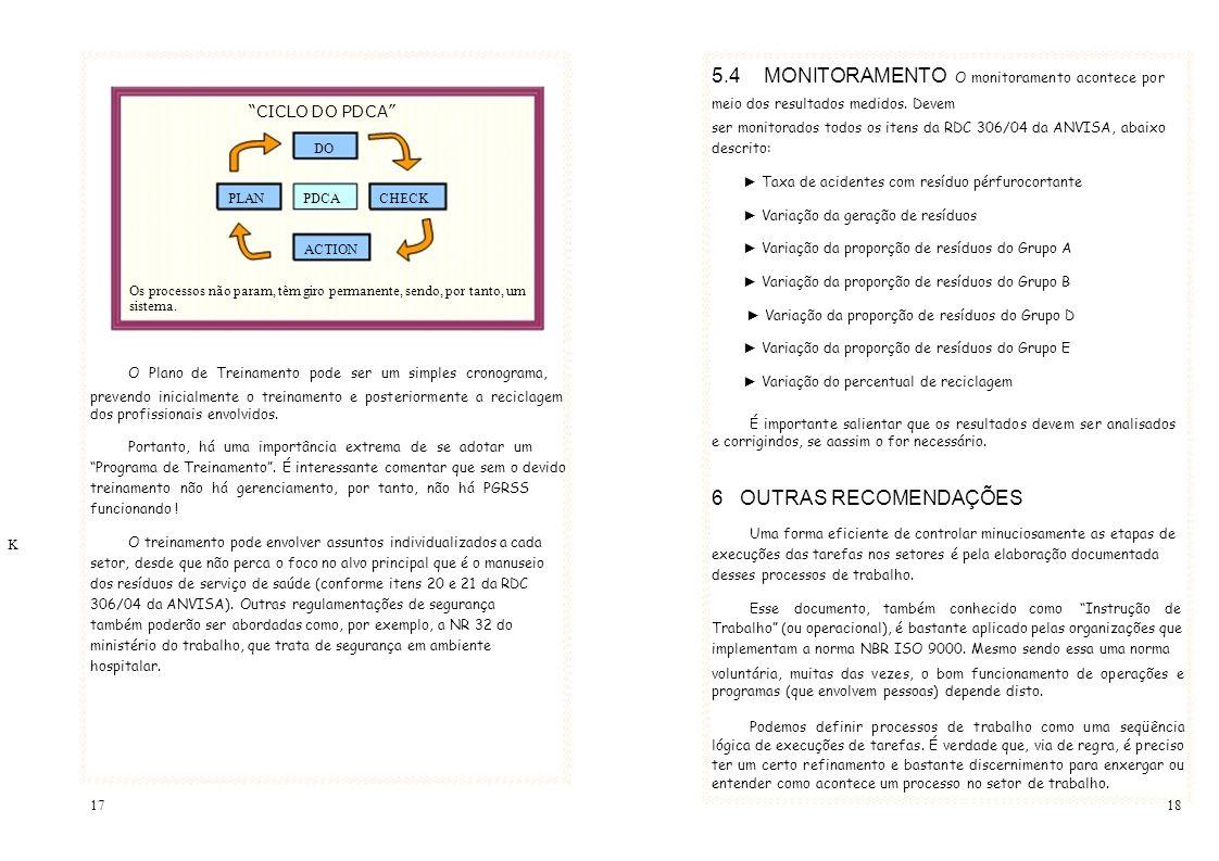 r 5.4 MONITORAMENTO O monitoramento acontece por meio dos resultados medidos. Devem CICLO DO PDCA ser monitorados todos os itens da RDC 306/04 da ANVI