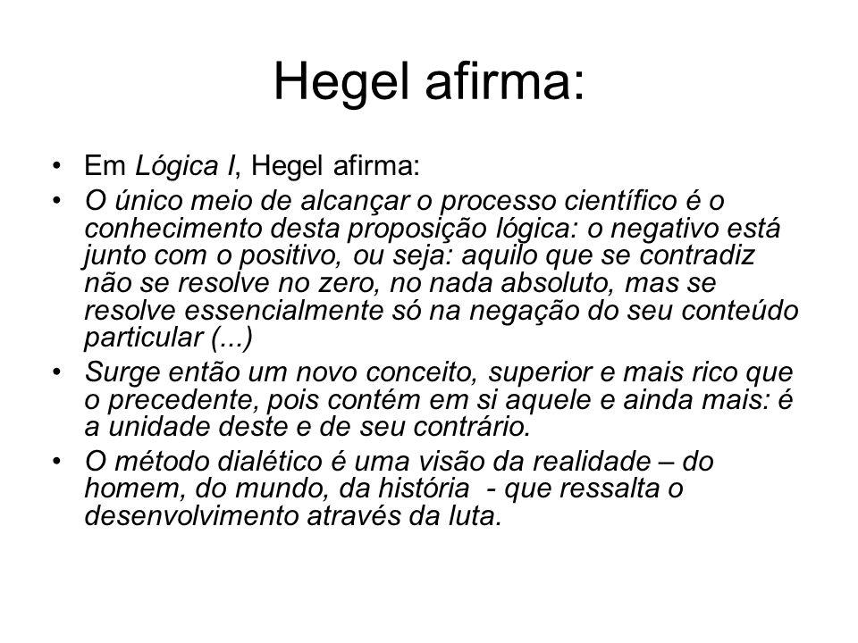 Hegel afirma: Em Lógica I, Hegel afirma: O único meio de alcançar o processo científico é o conhecimento desta proposição lógica: o negativo está junt