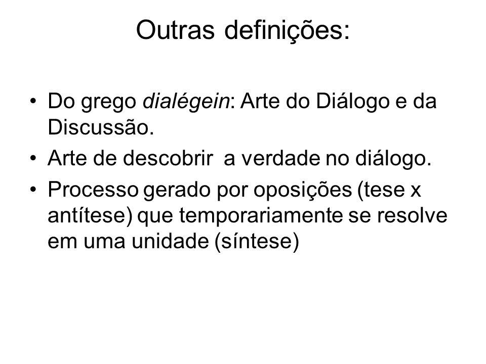 Outras definições: Do grego dialégein: Arte do Diálogo e da Discussão. Arte de descobrir a verdade no diálogo. Processo gerado por oposições (tese x a