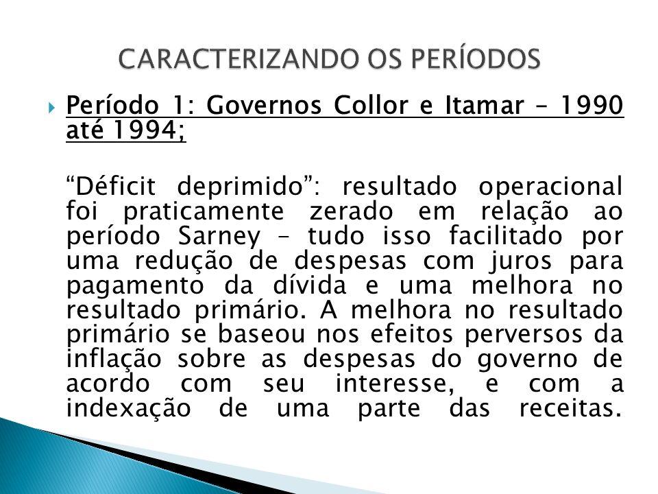 Período 1: Governos Collor e Itamar – 1990 até 1994; Déficit deprimido: resultado operacional foi praticamente zerado em relação ao período Sarney – t