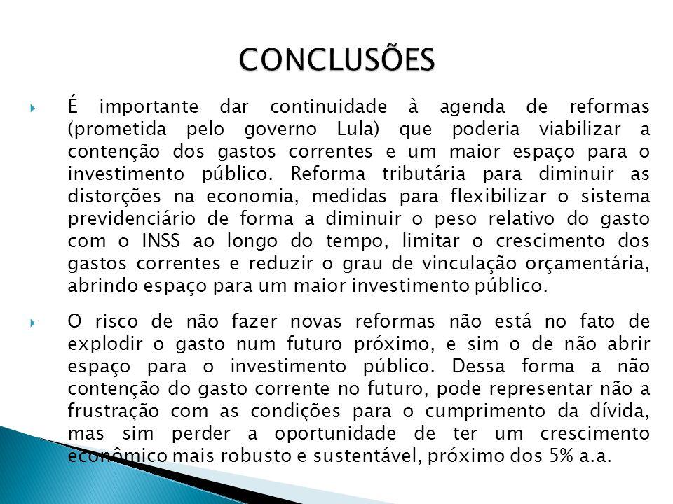 É importante dar continuidade à agenda de reformas (prometida pelo governo Lula) que poderia viabilizar a contenção dos gastos correntes e um maior es