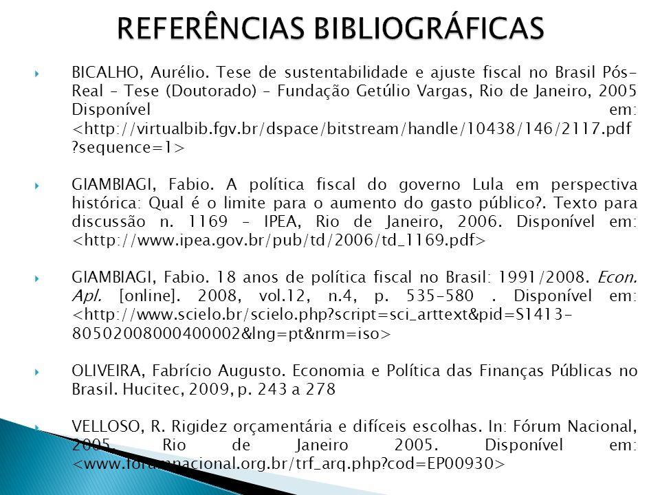 BICALHO, Aurélio. Tese de sustentabilidade e ajuste fiscal no Brasil Pós- Real – Tese (Doutorado) – Fundação Getúlio Vargas, Rio de Janeiro, 2005 Disp