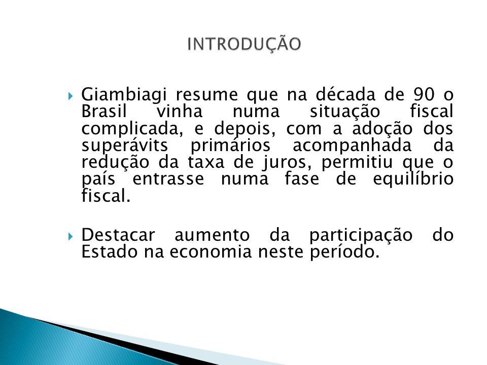 Giambiagi resume que na década de 90 o Brasil vinha numa situação fiscal complicada, e depois, com a adoção dos superávits primários acompanhada da re