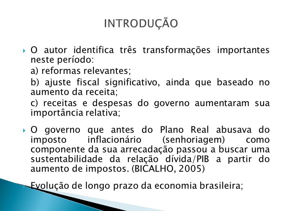 O autor identifica três transformações importantes neste período: a) reformas relevantes; b) ajuste fiscal significativo, ainda que baseado no aumento