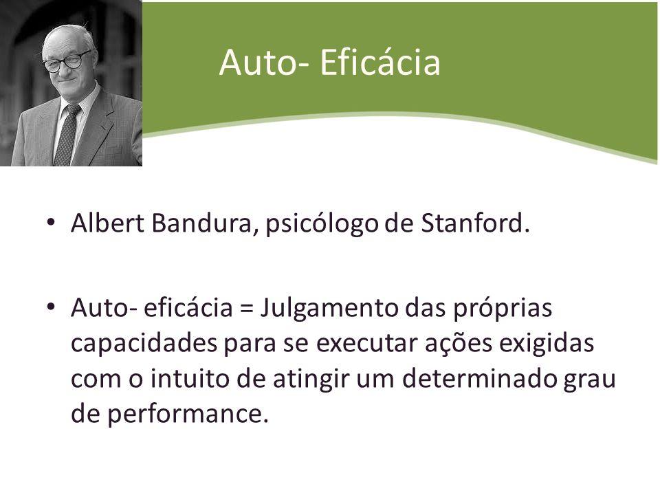 Auto- Eficácia Albert Bandura, psicólogo de Stanford. Auto- eficácia = Julgamento das próprias capacidades para se executar ações exigidas com o intui