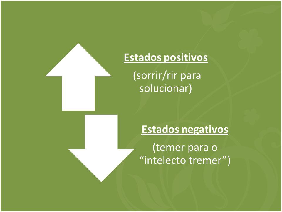 Estados positivos (sorrir/rir para solucionar) Estados negativos (temer para o intelecto tremer)