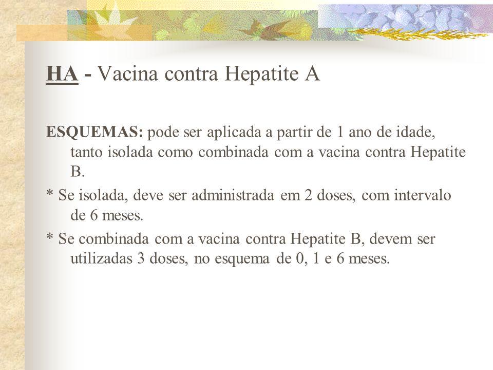 HA - Vacina contra Hepatite A ESQUEMAS: pode ser aplicada a partir de 1 ano de idade, tanto isolada como combinada com a vacina contra Hepatite B. * S