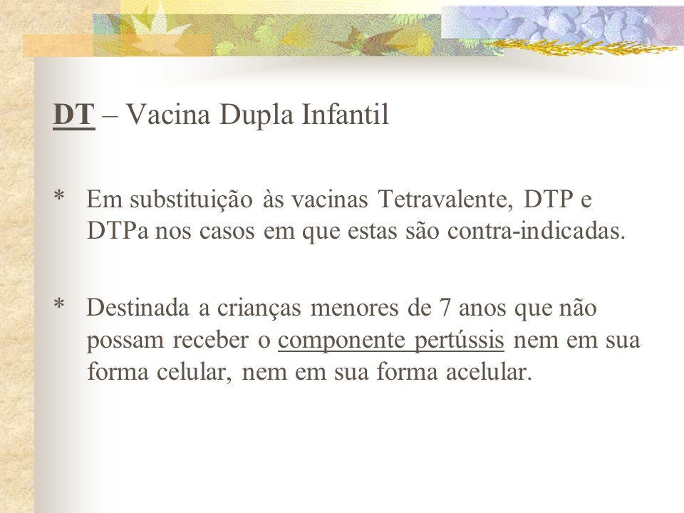 DT – Vacina Dupla Infantil * Em substituição às vacinas Tetravalente, DTP e DTPa nos casos em que estas são contra-indicadas. * Destinada a crianças m