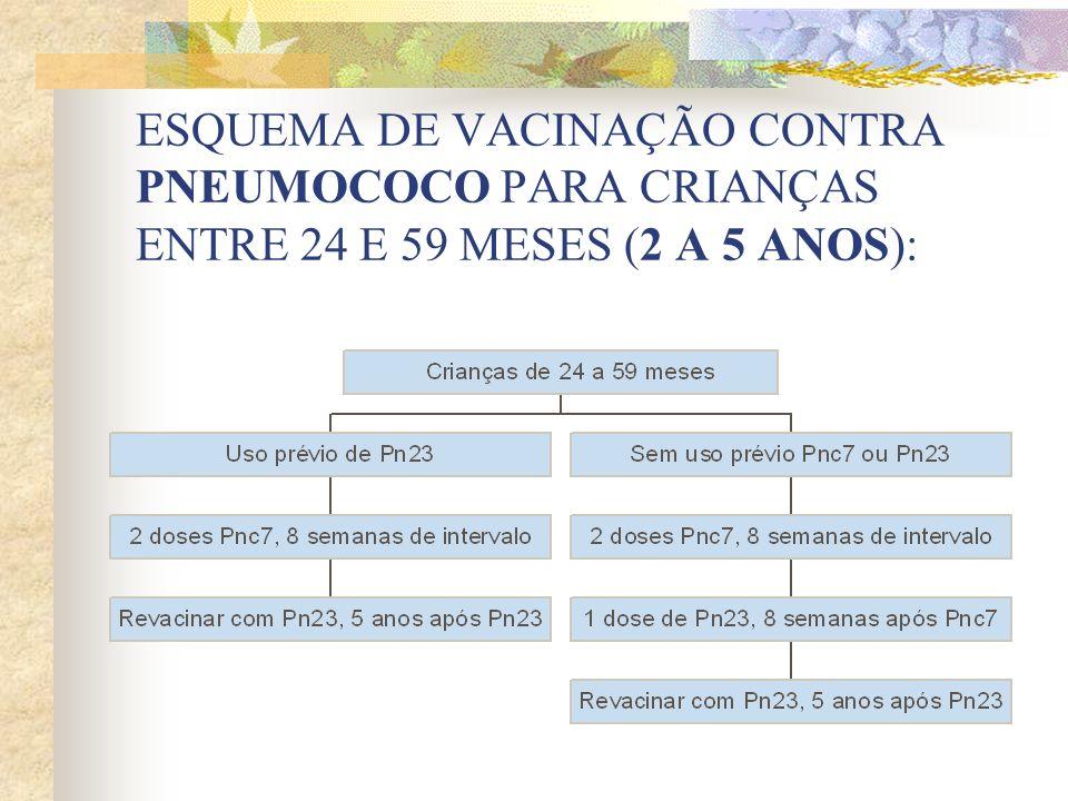 ESQUEMA DE VACINAÇÃO CONTRA PNEUMOCOCO PARA CRIANÇAS ENTRE 24 E 59 MESES (2 A 5 ANOS):