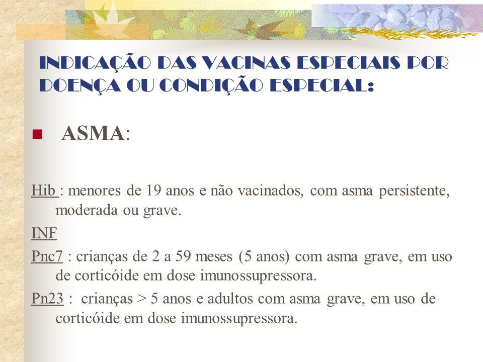 INDICAÇÃO DAS VACINAS ESPECIAIS POR DOENÇA OU CONDIÇÃO ESPECIAL: ASMA: Hib : menores de 19 anos e não vacinados, com asma persistente, moderada ou gra