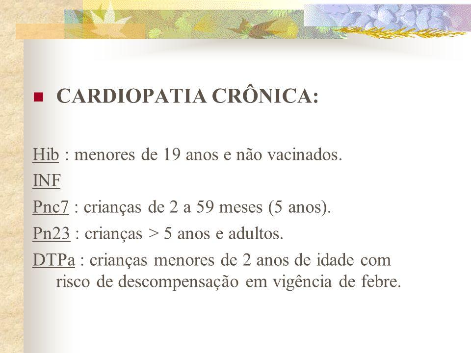 CARDIOPATIA CRÔNICA: Hib : menores de 19 anos e não vacinados. INF Pnc7 : crianças de 2 a 59 meses (5 anos). Pn23 : crianças > 5 anos e adultos. DTPa