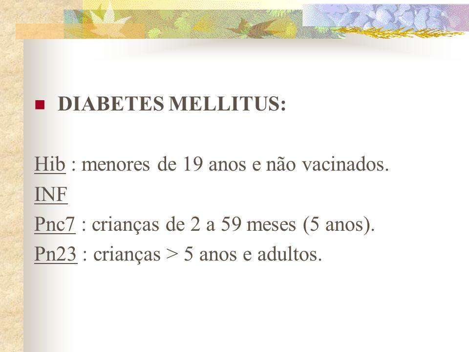 DIABETES MELLITUS: Hib : menores de 19 anos e não vacinados. INF Pnc7 : crianças de 2 a 59 meses (5 anos). Pn23 : crianças > 5 anos e adultos.