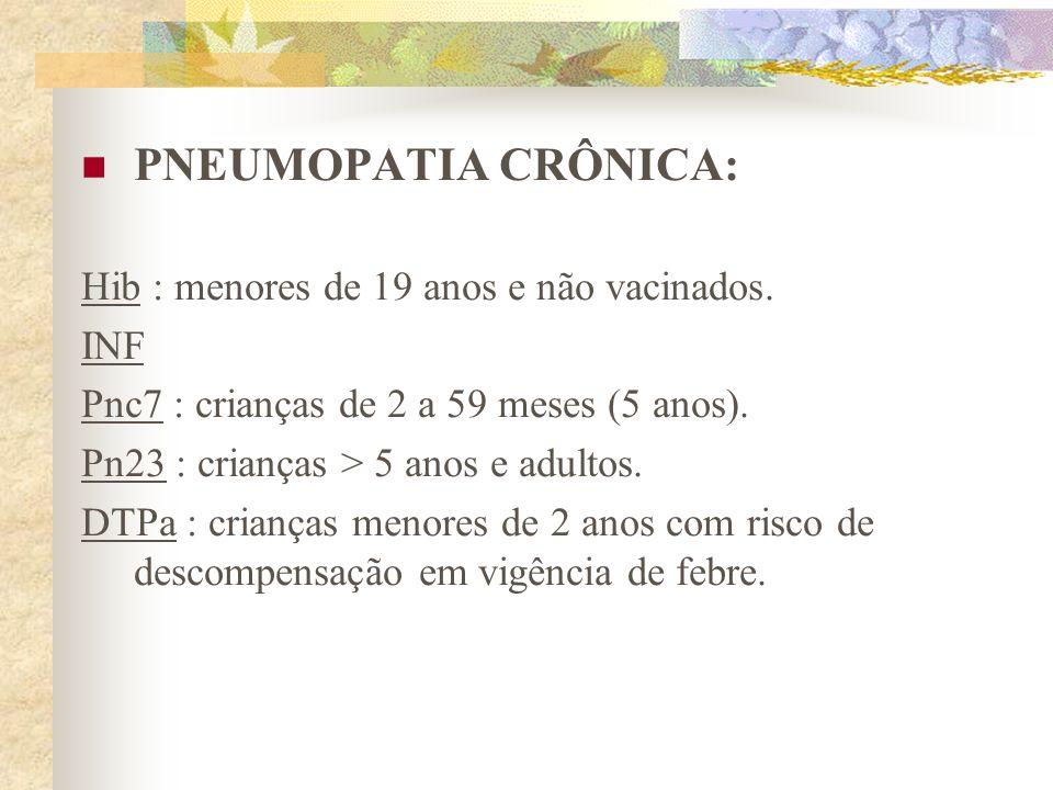 PNEUMOPATIA CRÔNICA: Hib : menores de 19 anos e não vacinados. INF Pnc7 : crianças de 2 a 59 meses (5 anos). Pn23 : crianças > 5 anos e adultos. DTPa